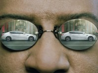 Kia Matrix commercial: K900 reflected in Morpheus' glasses.
